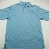 Footjoy Mens Golf Shirt Polo Short Sleeve Blue Micro Stripes Golfing Medium
