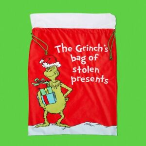 The Grinch XM8194 Novelty Fabric Gift Sack 72 x 47 Cm New With Tag