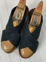 Neiman Marcus Sandals Black Slip On Wedge Size 37 Leather