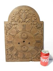 """19thC HAND CARVED Teak Mahogany Long Case Clock Dial a/f UNUSUAL 17.5"""""""