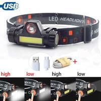 XPE COB LED Headlamp USB Rechargeable Flashlight Mini Headlight head light Torch