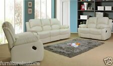 NEW VALENCIA 3+2 SEATER LEATHER SETTEE LEATHER RECLINER SOFAS CREAM