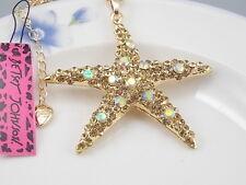 Betsey Johnson Fashion Jewelry Cute Yellow Crystal starfish Pendant Necklace #A