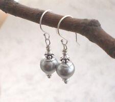Zarte Vintage MUSCHELKERN Ohrringe 925 Silber, Perlenohrringe grau 925er f350