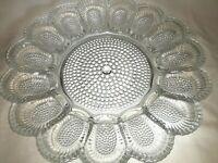 """Vintage 11"""" Clear Indiana Glass 15 Deviled Egg Dish Platter Dewdrop Hobnail USA"""