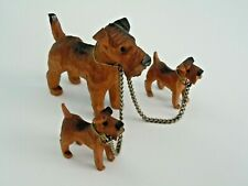 Vintage Miniature Carved Wooden Airedale Terrier Mom with 2 Pups