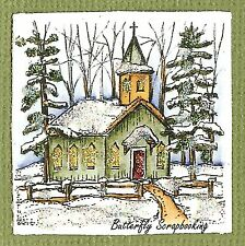 Small WINTER CHURCH CHRISTMAS Wood Mounted Rubber Stamp NORTHWOODS C10141 New