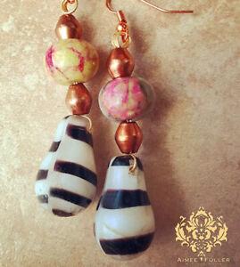 Old Mali Wedding Bead African Trades Jewelry Zebra Black White Earrings w/ Agate
