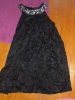 French Connection Black Velvet sleeveless Dress Size 14