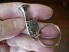 (M-205-C) TUBA key chain KEYCHAIN JEWELRY SILVER-nickel plt I love little TUBAS