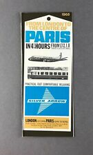 BRITISH UNITED AIRWAYS SILVER ARROW RAIL SERVICE TIMETABLE 1968 BUA SNCF
