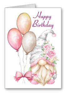 Gonk Gnome Birthday Card Happy Birthday Balloons Cute All Cards 3 for 2