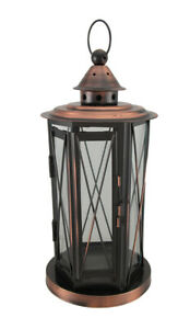 Scratch & Dent Polished Antique Copper Finish Metal and Glass Candle Lantern