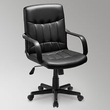 Task Office Chair Computer Desk PU Leather Swivel Executive Adjustable Black