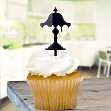 Black Lampshade Cupcake Toppers x8 Baking Cake Pick Decoration