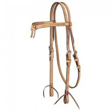Western Natural Leather Hand Tooled Brow-band Headstall with Leather Ties