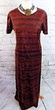"""Monsoon robe longue Taille 14 buste 38"""" L 52"""" marron velours à manches courtes à rayures"""