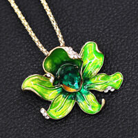 Betsey Johnson Green Enamel Crystal Flower Pendant Chain Necklace/Brooch Pin