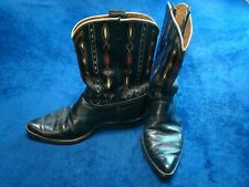 Vintage Acme Men's 11 1/2 D Red & White Inlay Cut Out Pointed Toe Cowboy Boots