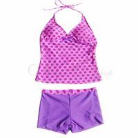 Girls Kids Swimwear Bikini Swimsuit Two Piece Halter Tankini Set  Bathing Suit