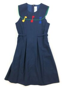 Florence Eiseman 8 10 Navy Blue Musical Dress Music Notes Piano Recital Wool