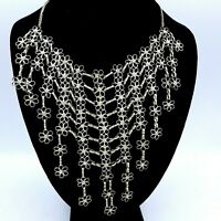 Vintage 60's Bib Necklace Silver Flowers Mod Runway Statement