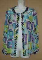 Laura Ashley Womens Medium Long Sleeve Beaded Silk Fall Cardigan Blouse Top