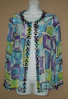 Laura Ashley Womens Medium Long Sleeve Beaded Silk Spring Cardigan Blouse Top