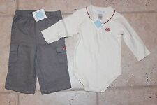 Nwt Janie & Jack Boys 3 - 6 Months Train One Piece Long Sleeve Polo Grey Pants