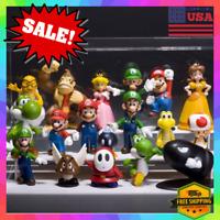 18pcs Super Mario Bros Action Figure Doll Figurine Toy Model SET Gift US Seller