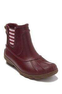 Sperry Syren Cove Waterproof Rain Boots Duck Boots Women Red Slip-0n