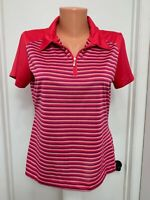 NIKE Golf Fit Dry Womens Top zip striped Short sleeve Polyester m medium