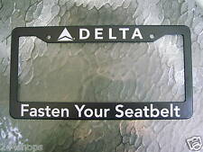 DELTA AIR LINES LICENSE PLATE FRAME - FASTEN YOUR SEAT BELTS - NEW