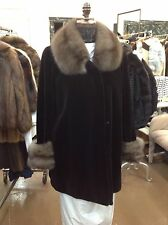 """RUSSIAN SABLE BLACK SHEARED MINK 32"""" SWING STROLLER COAT NEW LARGE/XL TOP QUALIT"""