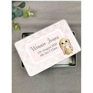 Personalised Pink Bunny Baby Keep Sake Tin, Memory Tin, Keepsake, Cute Gift Idea