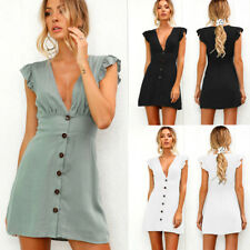 Womens Buttons Plunge V Neck Ruffle Sleeve Tunic Dress Ladies Party Mini Dress