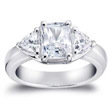 2.50 Ct Three Stone Engagement Ring Emerald Cut Created Diamond 14k White Gold