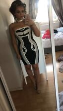 Missguided Black Bandage Dress, Size 8, Worn Once, Asos Rrp 60