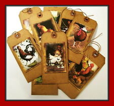 BARNYARD CHICKENS AND ROOSTERS - PRIMITIVE HANG TAGS - SET OF 12