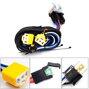2-Headlight H4 Headlamp Light Bulb Ceramic Socket Plugs Relay Wiring Harness hot