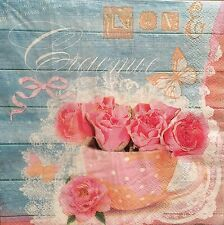 2 single paper napkins for decoupage collection Serwetki Retro Flowers Notes
