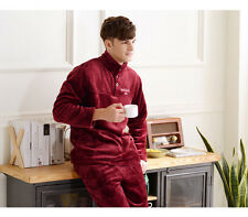 Men's Thicken Red Dress+Pants Coral Fleece Sleepwear/Pajamas Size S M L XL XXL &