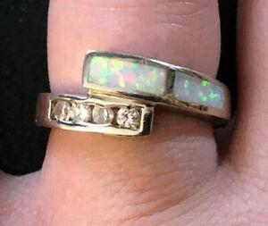 Sterling Silver Ring CZ Lab Created Opal Wrap Rhodium Pltd Sz 7 3.8g 925 #1037