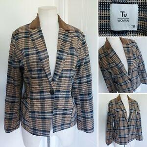 Ladies TU Brown Blue Check Plaid Tartan Blazer Jacket 18 Hacking Tweed Style