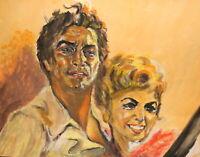 Vintage impressionist gouache painting couple portrait