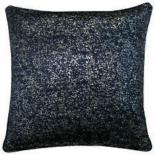 "SET OF 4  PALE NAVY BLUE SILVER GLITTER SPARKLES 18"" CUSHION COVERS £20.99 SET"