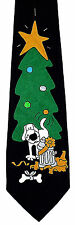 A Dogs Christmas Mens Necktie Holiday Black Neck Tie Xmas Tree Animal Gift New
