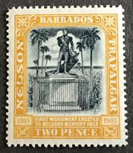 Barbados Edward VII 1907 2d Black & Yellow Nelson Centenary SG161 Cat £30 2016