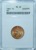 1864 ANACS MS65 FS-401 S-5 Polished Die File Marks Copper Nickel Indian Cent