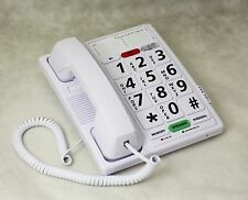 Big Button Corded Speaker Phone Headset Jack Amplified Hearing Impaired White